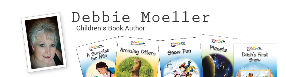 Banner with a photo of Debbie Moeller and the covers of some of her books
